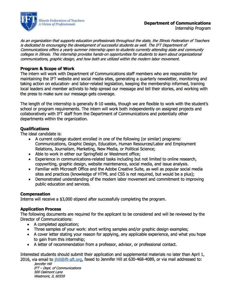 Paid Summer Internship In Communications Design Communique