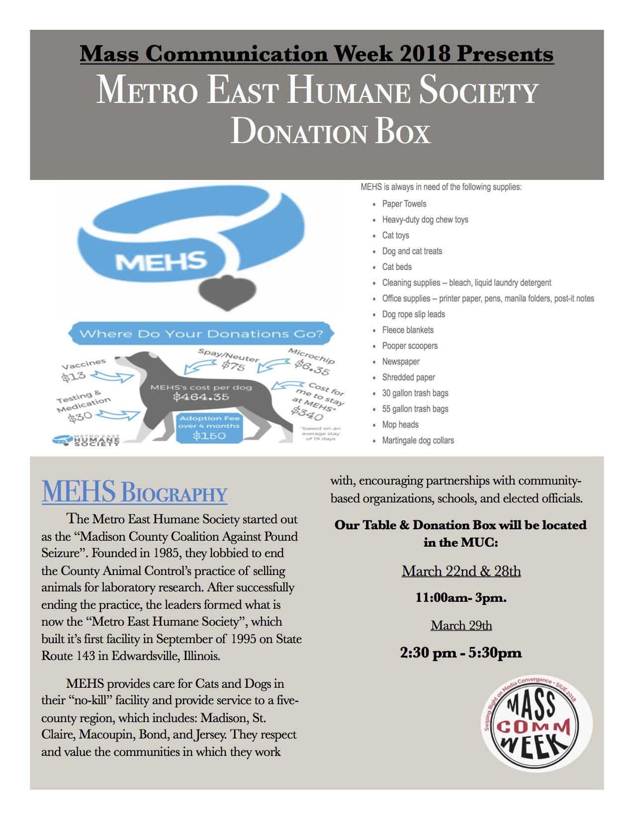 Metro East Humane Society Donations!!! – Communiqué