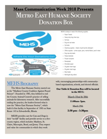 Mass Comm. Week Donation Flyer.